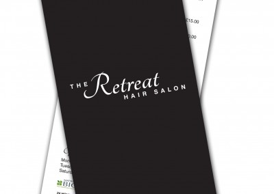 The Retreat Hair Salon Price Lists