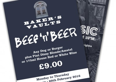 Baker's Vaults Pub Offer Leaflets and Posters