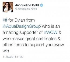 Jacqueline Gold #WOW FF Tweet